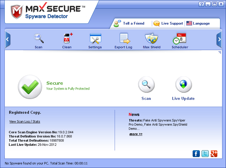Screenshot of Max Spyware Detector